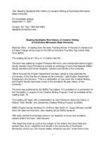 Reading Spotlights Rich History of Creative Writing at Southwest Minnesota State University