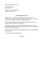 Library Book Sale Oct. 15-31