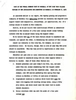 This document contains a summary made by Marshall, Minnesota, representative at the Four Year College hearing of the Legislative Sub-Committee in Marshall on February 8, 1960.